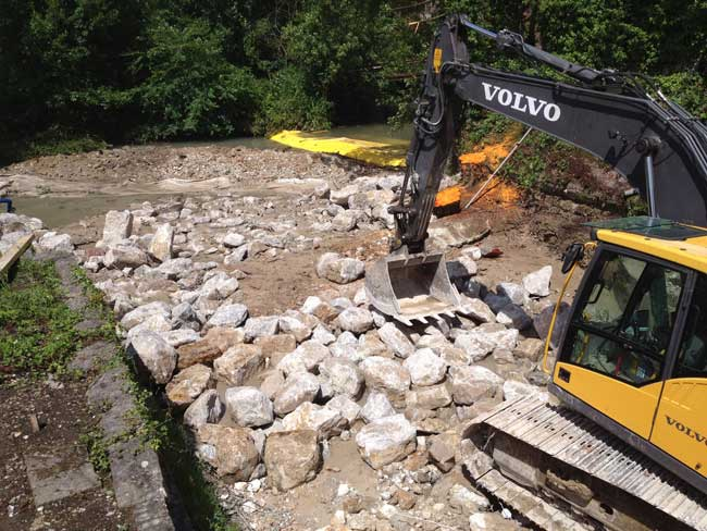 La Varenne: Torcy-le-Petitin vanhan kehruulaitteen kynnyksen tuhoaminen. Ylävirran virtauksen väliaikainen ohjaaminen joustavilla Water-Gate© -kasvitammilla.