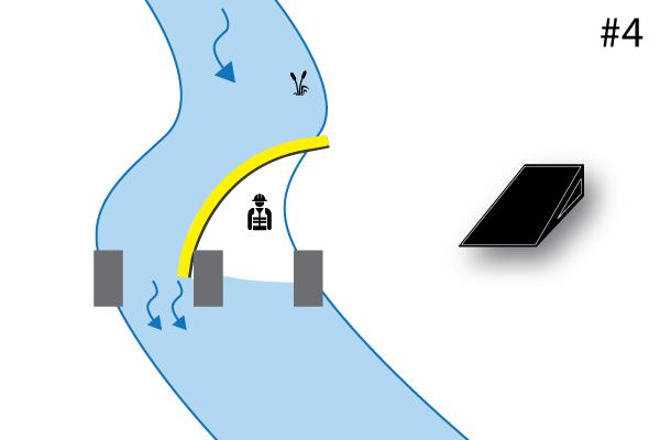 Joustava Water-Gate © cofferdams. Kaavio L-muotoisesta asennuksesta, jota tukee sillan laituri. Tapaus # 4