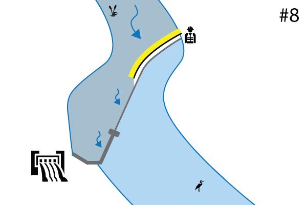 Water-Gate © -joustavat kasetit. Kaavio laitoksesta joen kynnyksellä | Spillway. Tapaus # 7