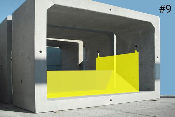 Joustavat Water-Gate© -kassit. Kaavio asennuksesta betonirumpuun | Tapaus # 9